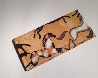 Fabric Checkbook Cover-Primitive Horses with Dark Brown Interior
