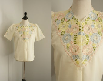1950s blouse | vintage 50s embroidered floral blouse