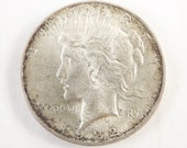 1922 Vintage Silver Peace One  Dollar Collectible Coin, 1922 P Coin Philadelphia Mint