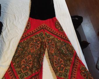 Vintage paisley palazzo jumpsuit!