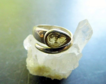 Ring, sterling silver, citrine, open, faceted, jewelry