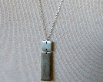 Rectangle Tag Necklace, Sterling Silver Plated.