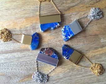 Blue Jasper Slice Necklace