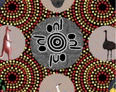 Australian Indigenous Fabric: Bush Tucker with Wild Fig in Black/Red