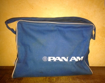 Original Vintage Pan Am Airlines Blue & White Cloth Shoulder Tote Flight Bag w/ Adjustable Strap Retro Airlines Aviation