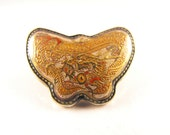 Antique Brooch Japanese Satsuma Golden Dragon Motif Meiji Period Treasure Chop Mark Stamp A Real Treasure