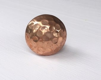 Copper Cabinet Knob Hardware Furniture Knob and Pull Hammered Copper Knobs