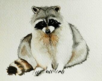 Raccoon painting Watercolor - Original Watercolor Fine Art , nursery decor, animal art painting, wall art, watercolor