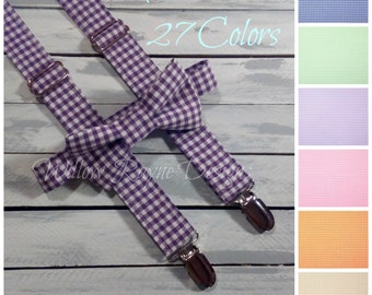 boys suspenders and bow tie set in plum purple gingham - boys suspenders - toddler suspenders - baby - wedding - 27 colors available