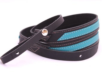 Leather Mandolin Strap, Turquoise and Black