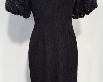 Black 1980's Leslie Party Dress