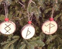 Viking Christmas Ornament~ Yule Ornament~ Pyrographed Wood Ornament~ Wood Burned Ornament! Rustic