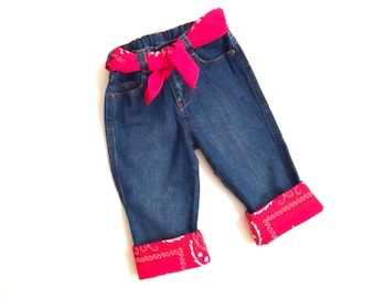 Bandana Blue Jeans with Matching Belt - 12 months to 4T - Free Shipping