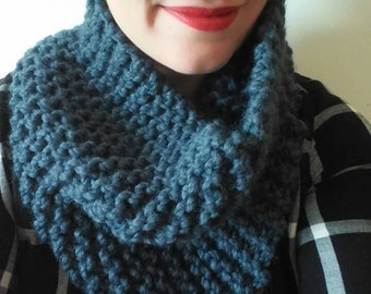 Chunky knit scarf in denim, chunky knit cowl, circle scarf, knit eternity scarf, winter accessories