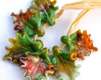 Lampwork Glass Leaves for Jewelry Making, Set of 6 leaf beads, Fall Leaves, Earthly Colors Glass Leaves, Made to Order !!