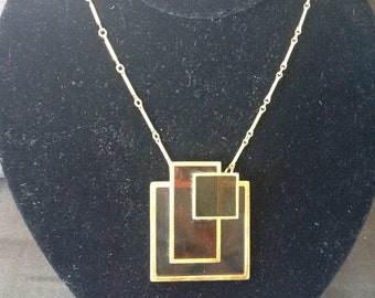 Vtg 1970s Modern Layered Glass Pendant Necklace in Manner of Frank Lloyd Wright