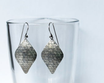 Oxidized sterling silver carved diamond shaped earrings