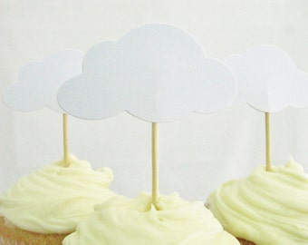 12 x White Cloud Cupcake Toppers
