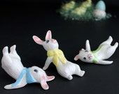 Vintage Tumbling Easter Bunny Decoration Small Ceramic Hand Painted Baby Rabbits