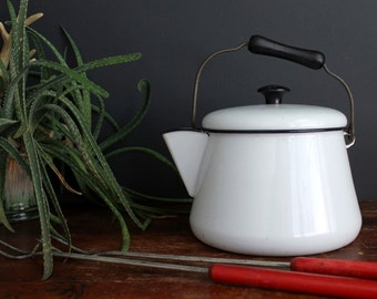 Vintage White and Black Enamelware Tea Kettle Enamel Pot