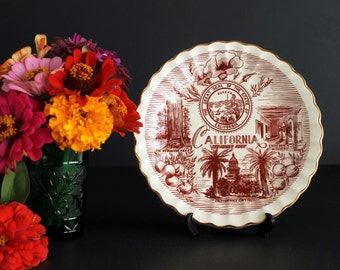 Vintage California The Golden State Souvenir Plate With The State Seal