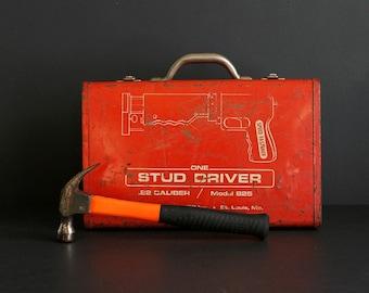 Vintage Red Metal Tool Box for Stud Driver .22 Caliber Model 825