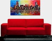 Oil Painting on Canvas Chicago city palette knife Contemporary colors Mixed