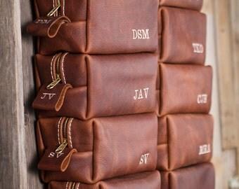Leather Dopp Kit, Leather Shaving Kit, Leather Toiletry Bag, Lifetime Leather Co, Groomsmen Gifts, Straight Razor, Wedding travel shave bag