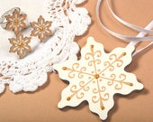 Mintapalinta POP, Beige-White-Gold Snowflake Pendant, Stud Earrings & Ring, Unique Designed Wooden Jewelry, Christmas Jewelry, Free Shipping