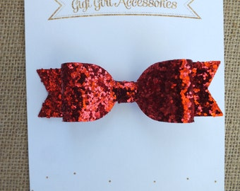 Red Glitter Hair Bows, Red Hair Bow, Red Glitter Bow, Glitter Hairbows, Christmas Hair Bows