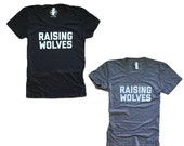 Raising Wolves - Womens Tee Shirt - Vintage Feel Grey Shirt - Mom Life - Mama Wolf - Wolves - Wolf Mother