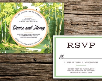 Aspens Paint by Number Wedding Invitation Suite // Colorado Wedding Invitation Aspen Wedding Invitation Trees Wedding Denver Casual Card