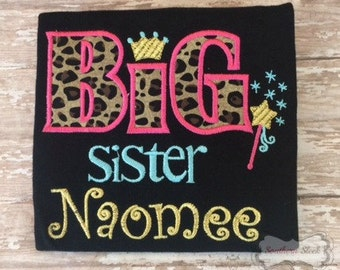 Big Sister Embroidered Shirt or Bodysuit in Black, Leopard Print, Gold, Pink and Blue
