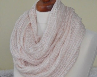 Pale Pink Infinity Scarf , Long Scarf, Lace like Design,  Lace like Pale Pink Scarf, Pale Pink Cowl Scarf, Soft Openwork snood, gift for her