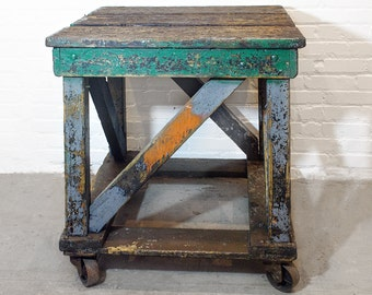 1920s Wood Rolling Factory Table