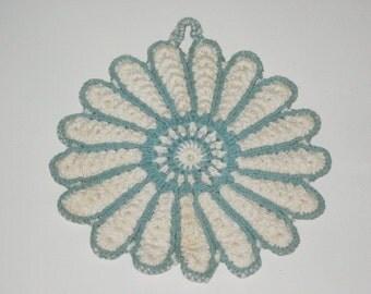 Vintage Handmade Turquoise and White Pot Holder