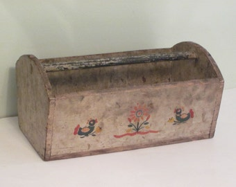 Antique Wood Carrier With HP Ducks Flowers