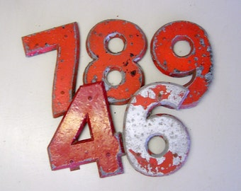 "vintage sign letter, numbers, 10"" painted metal letter, number 4, number 6, number 7, number 8, number 9"