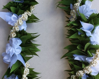 Maile with gardenia and pikake flower ribbon lei