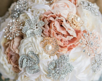 English Garden Flower Brooch Bouquet