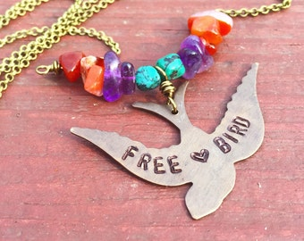 FREE BIRD - Hand stamped BIRD necklace - Amethyst Turquoise and Amethyst - Brass necklace - RUSTiC