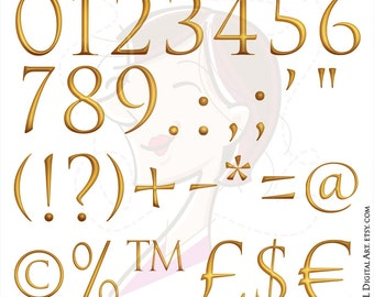 Gold Numbers 0 to 9 Symbols Currency Math Symbols Signs Clip Art Png COMMERCIAL USE 10644