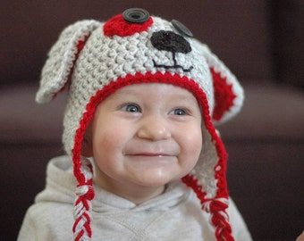 Crochet Baby Hat Newborn Boy Girl Dog Photo Prop