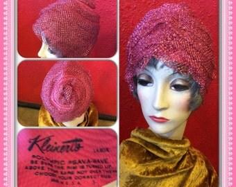 1950s Kleinerts Bathing Cap Pink Metallic Net Glamour Swimwear