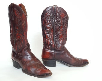 Brown Cherry Leather Cowboy Boots • Vintage 80s J CHISHOLM Texas Boots • Size 9 10 • Made in USA