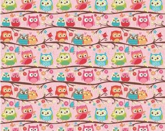 Happy Flappers  -  1 Yard  Cut - Novelty Fabric  - Owls Pink - Cotton Fabric - Riley Blake Designs - Owl Fabric