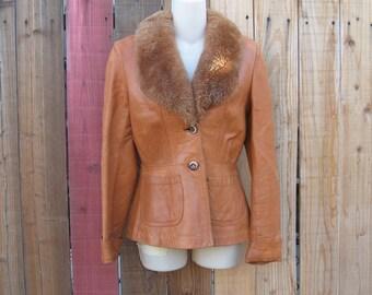 Vintage Leather Women's Jacket Fur Collar