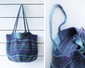 Vintage purple blue turquoise green wool knit striped market shopping beach tote bag