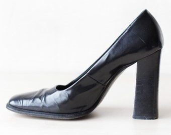 LE SILLA 90s vintage elegant black polished leather extra high chunky block heel shoes 40 9