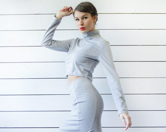 Vintage grey cotton jersey fitted long sleeve turtleneck crop belly top L
